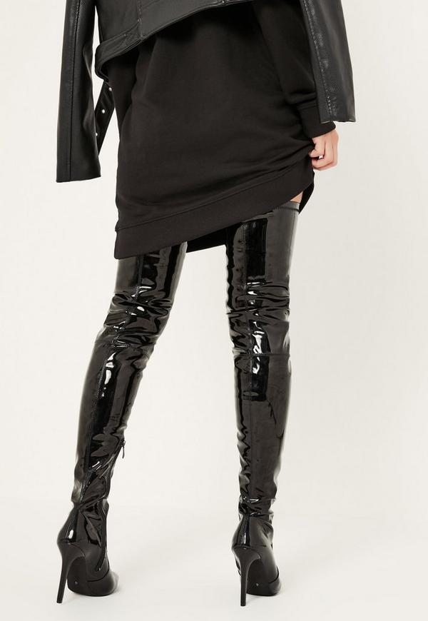 Black Patent Stiletto Over The Knee Boots | Missguided