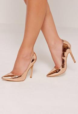 Rose Gold Mirrored Court Shoes