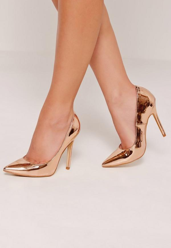 Rose Gold Mirrored Pumps Missguided