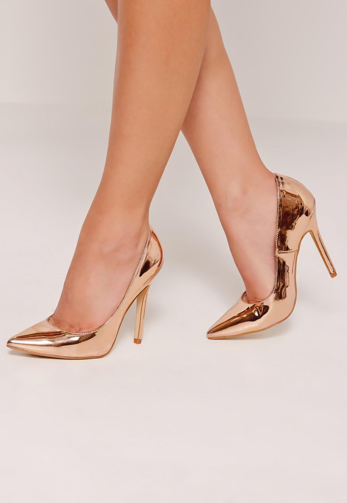 Rose Gold Mirrored Pumps | Missguided