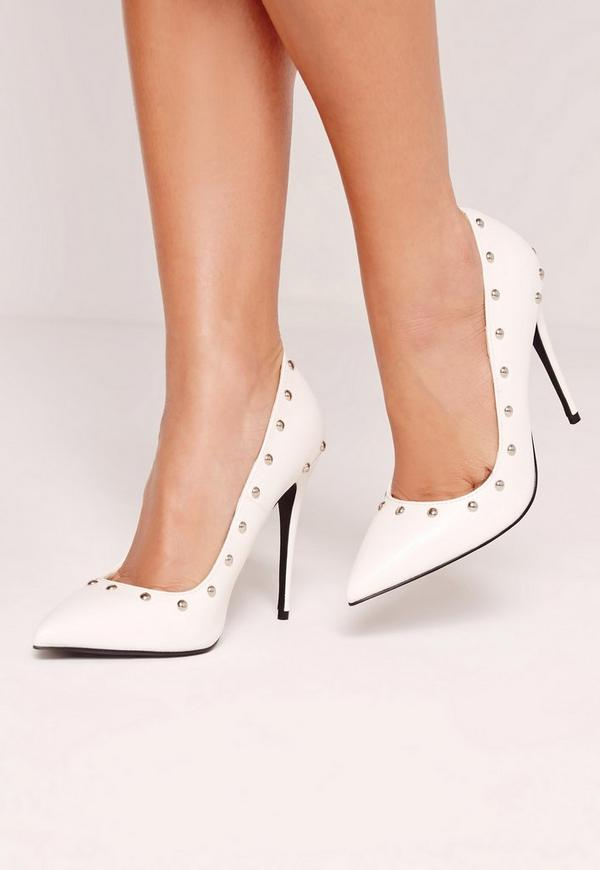 White Studded Court Shoes