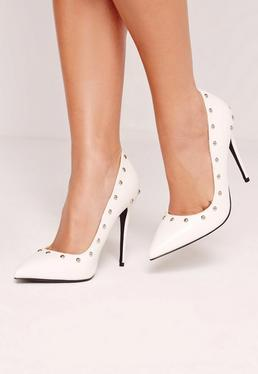 White Studded Pumps
