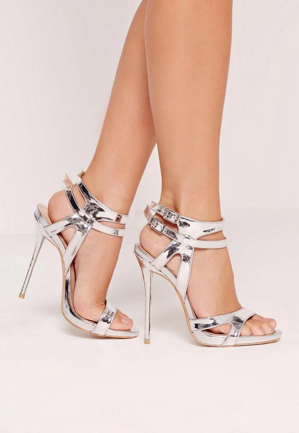 Double Ankle Strap Barely There Heeled Sandals Silver