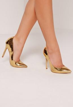 Gold Mirrored Court Shoes