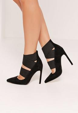 Black Faux Suede Elastic Strap Court Shoes