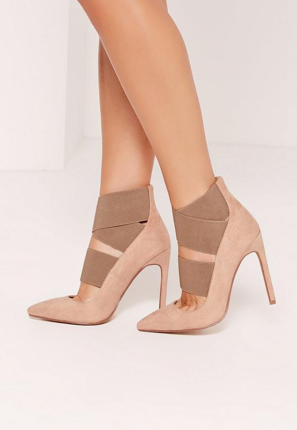 Nude Faux Suede Elastic Strap Court Shoes