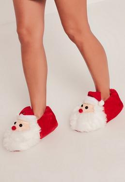Chaussons Père Noël rouges