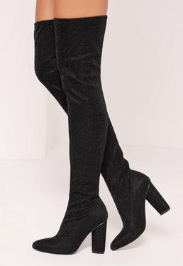 Lurex Glitter Over The Knee Sock Boots Black