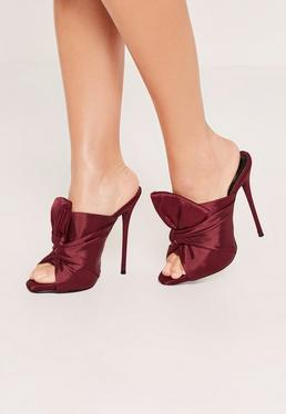 Mules à talon en satin bordeaux