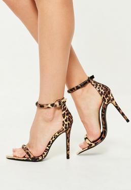 Sandales à talon grises imprimé léopard bout pointu