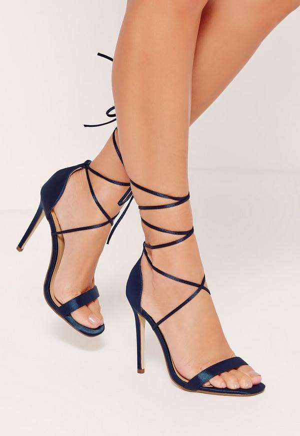 Satin Lace Up Barely There Heels Blue