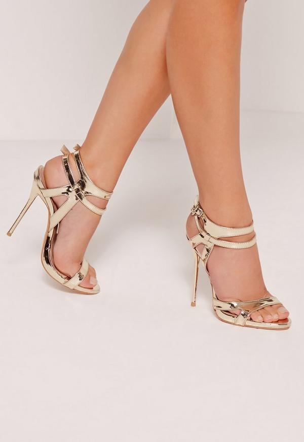 Double Ankle Strap Barley There Heeled Sandals Gold