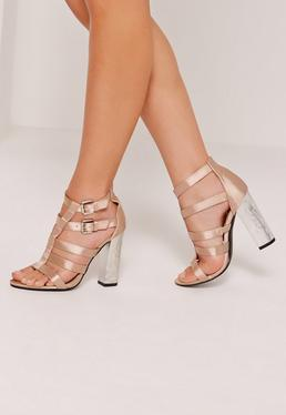 Crushed Heel Satin Gladiator Block Heel Nude