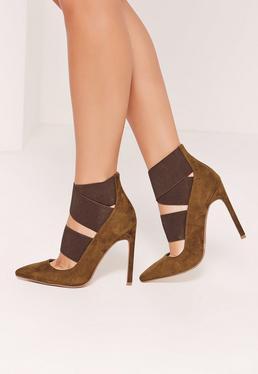 Khaki Faux Suede Elastic Strap Court Shoes