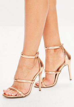 Rose Gold Rounded Three Strap Barely There Heels