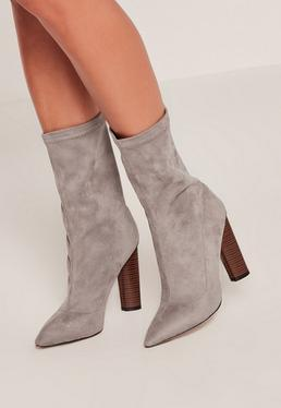 Grey Microfibre Wooden Heeled Boots