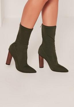 Khaki Neoprene Wooden Heeled Boots