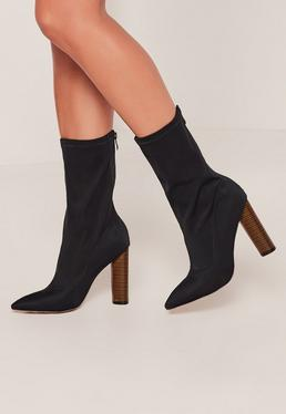 Navy Neoprene Wooden Heeled Boots