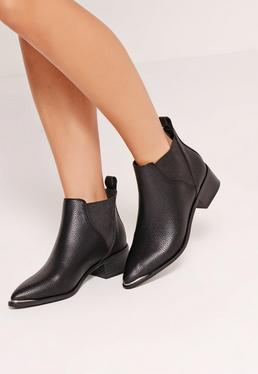 Pointed Toe Metal Detail Ankle Boots Black