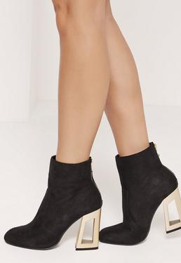 Cut Out Metal Heeled Microfibre Boots Black