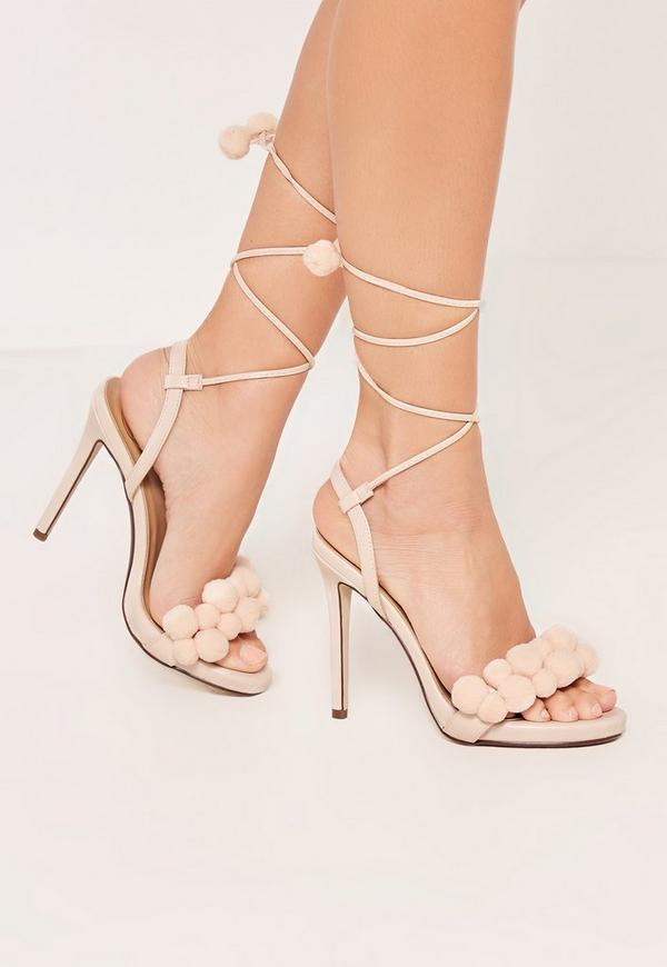 Nude Pom Pom Wrap Around Heeled Sandals