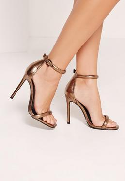 Sandales talons aiguilles bronze métallique attache à la cheville