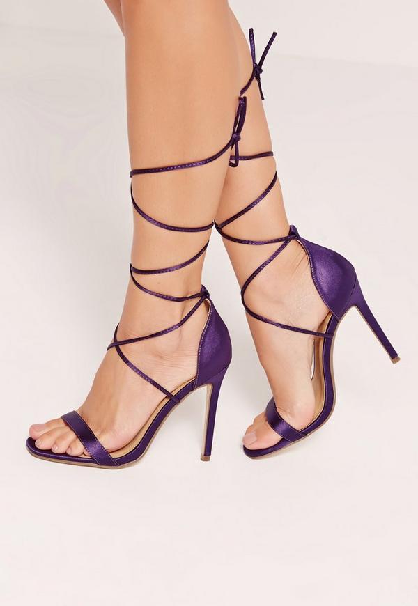 Satin Lace Up Barely There Heeled Sandals Purple