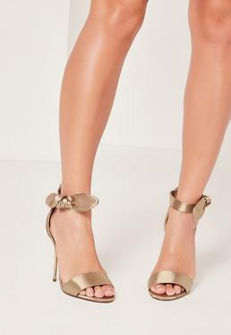Satin Tie Metal Heeled Sandals Nude
