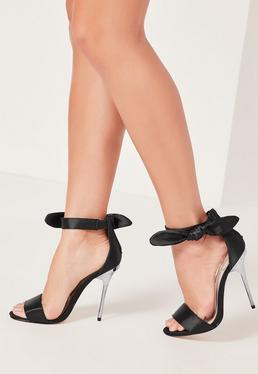 Satin Tie Metal Heeled Sandals Black