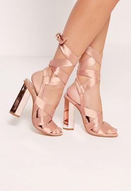 Block Heel Tie Satin Sandals Rose Gold