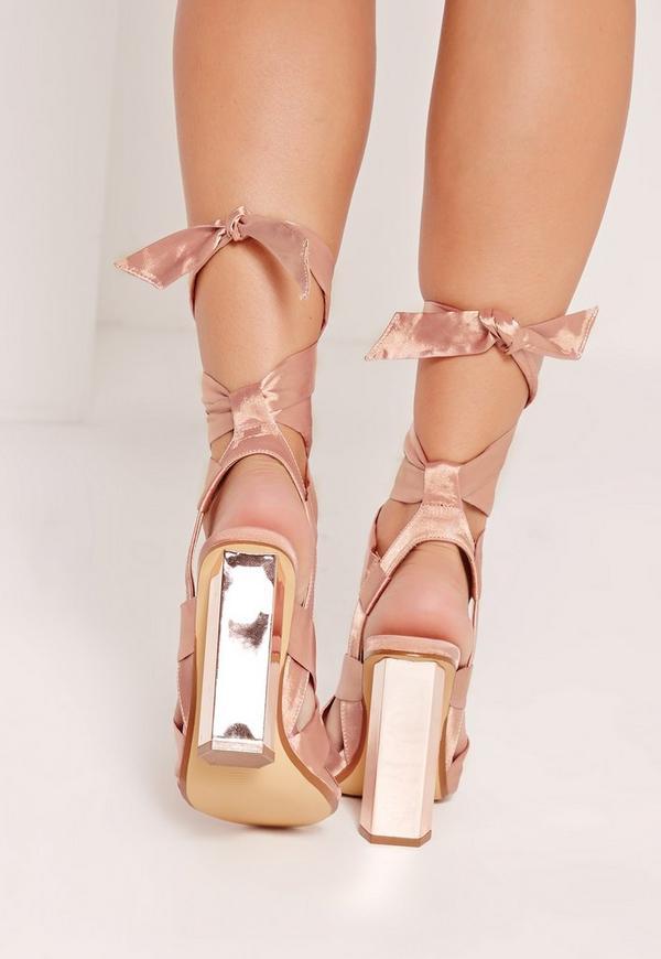 Block Heel Tie Satin Sandals Rose Gold   Missguided