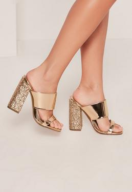 Gold Glitter Block Heel Mule Sandals