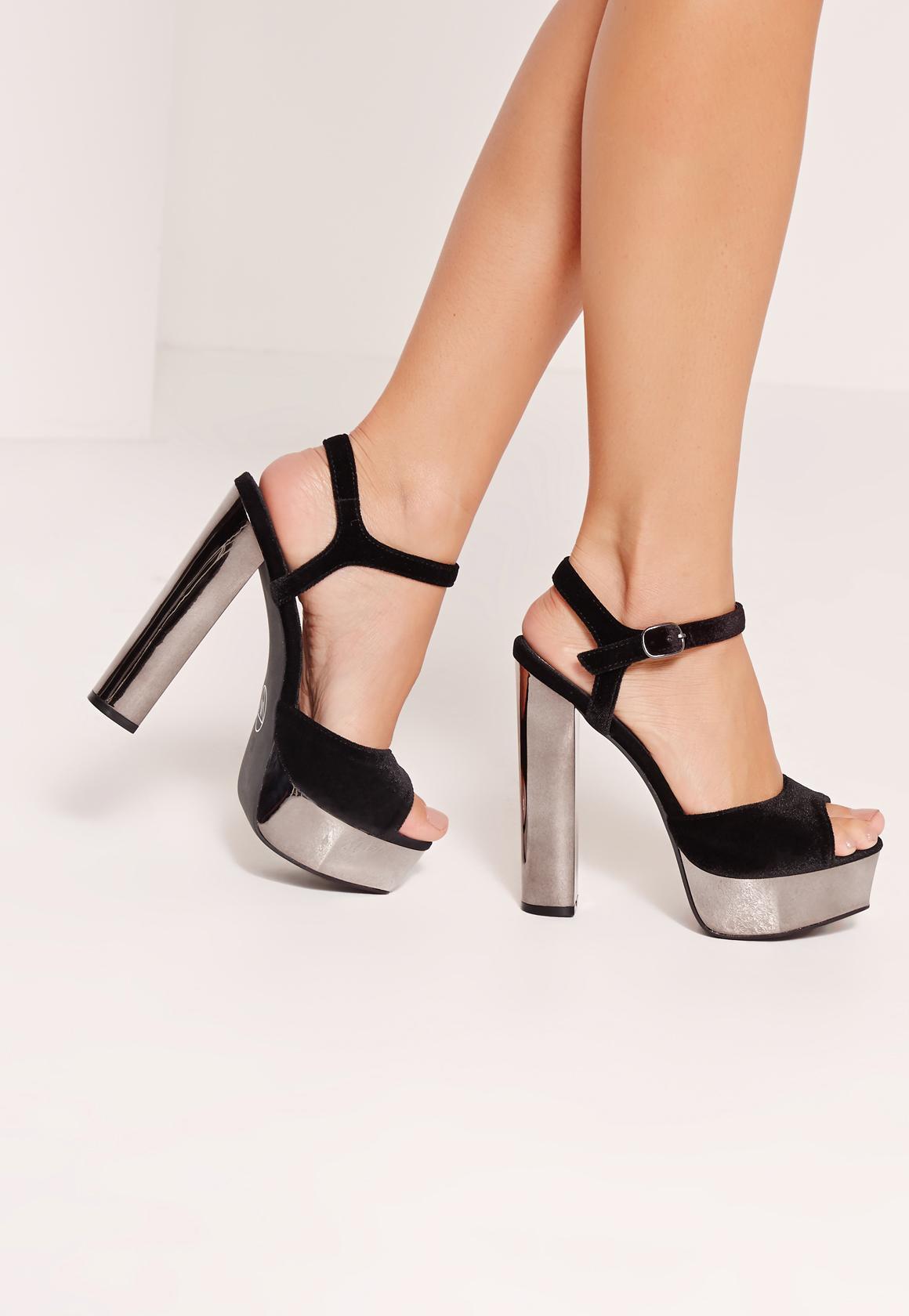 Black sandals missguided - Velvet Strap Metallic Platform Sandals Black Previous Next