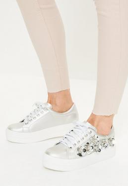 Silver Embellished Flatform Sneakers