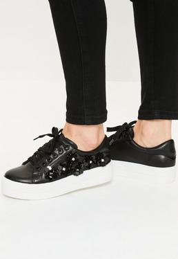 Black Embellished Flatform Sneakers