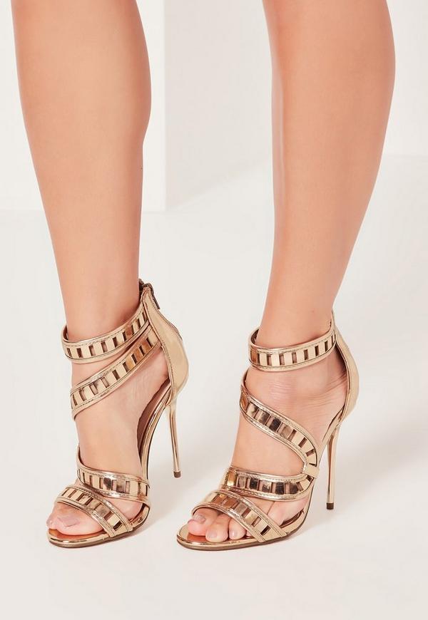 Wrap Around Lazer Cut Metallic Heeled Sandals Gold