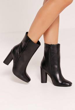 Faux Leather Heeled Ankle Boots Black