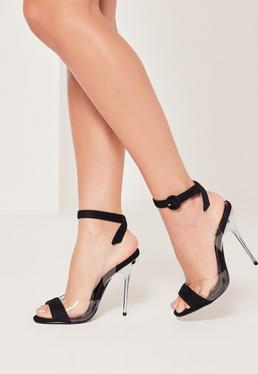 Black Vamp Wrap Around Barely There Heels
