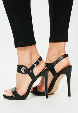 Sandales noires à talons fins