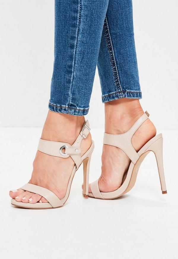 Nude Barely There High Heels Sandals