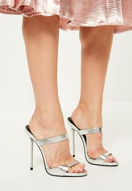 Silver Barely There Heeled Mules