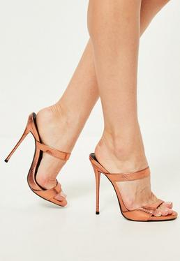 Bronze Barely There Heeled Mules