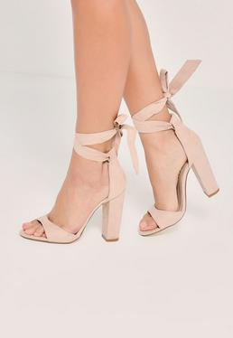 Nude Curved Vamp Block Heeled Sandals