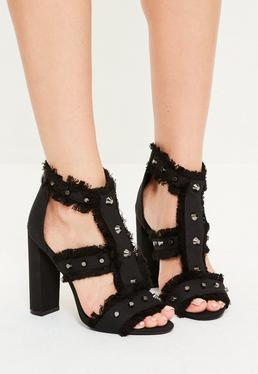 Black Studded Frayed Block Heel Sandals