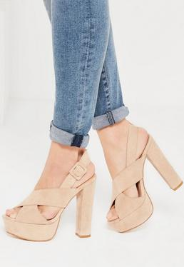 Nude Cross Over Strap Platform Heels