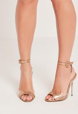 Sandales dorées à talons attache enroulée