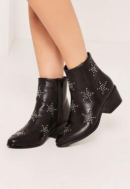 Black Star Studded Ankle Boots