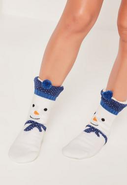 Snowman Slipper Socks White