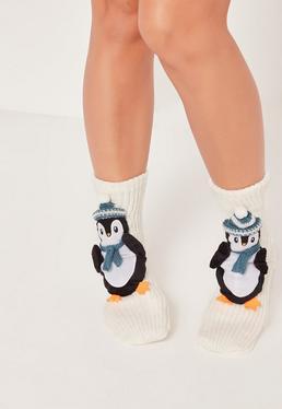 Chaussettes cadeau blanches à pingouins