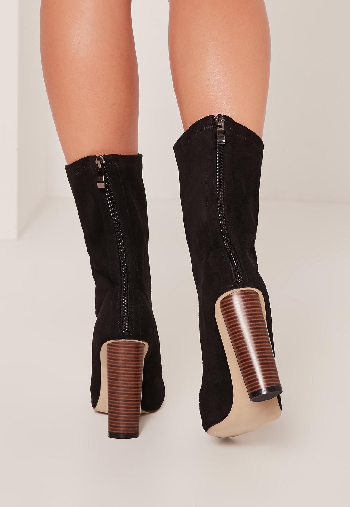Black Microfibre Wooden Heel Boots